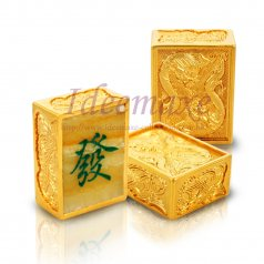 Imitation Stone Dragon and Phoenix Mahjong Set